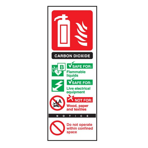Fire Extinguisher Sign Carbon Dioxide Semi-Rigid PVC | Safety sign for carbon dioxide fire extinguishers | Fusion Office UK