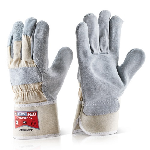 Heavyweight Rigger Gloves   Size 10/XL   Grey split leather   Heavyweight cotton backing & safety cuff   Vein patch - Fusion Office
