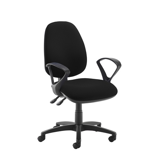 Jota high back operator chair with fixed arms Black DAMS JH43-000-BLK   Asynchro mechanism, lockable seat and back   Fusion Office