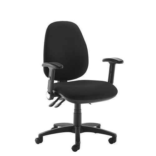 Jota high back operator chair with folding arms Black DAMS JH46-000-BLK | Asynchro mechanism, lockable seat/back | Fusion Office