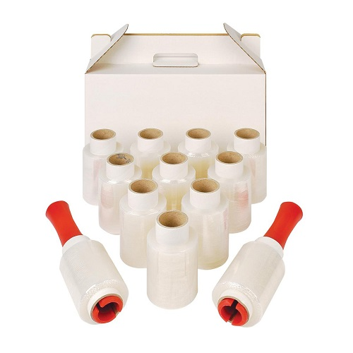 Mini Stretch Film Roll Kit (2 Dispensers plus 10 Rolls) | Ideal for wrapping small or irregular shaped consignments | Fusion Office