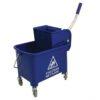 Mobile Mop Bucket Blue 20 Litres   Lightweight gear-action wringer   Hazard warning on the side   Four tough castors   Fusion Office