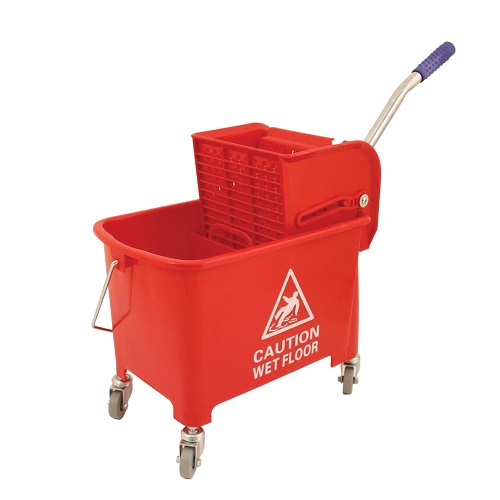 Mobile Mop Bucket Red 20 Litres | Lightweight gear-action wringer | Hazard warning on the side | Four tough castors | Fusion Office