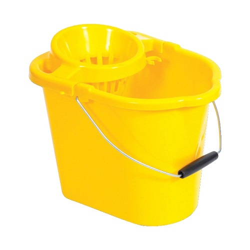 Oval Mop Wringer Bucket 12 Litres Yellow   Great value blue mop bucket   Ideal for colour coded cleaning   Fusion Office