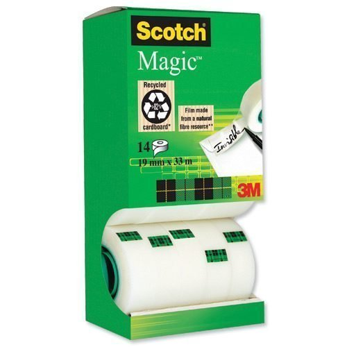 3M 81933R14 Scotch Magic Invisible Tape Value Pack 19mm x 33m [Pack 14] | Permanent adhesive for lasting sticking power | Fusion Office UK