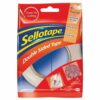 Sellotape Double Sided Tape 12mmx33m Roll 1447057 [Pack 12]   Strong adhesive both sides with easy tear & removable paper   Fusion Office UK