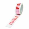 Fragile Tape 50mm x 66m Red on White [Pack 6] | Printed Packaging Tape | Acrylic Tape | Fast Delivery | Fusion Office