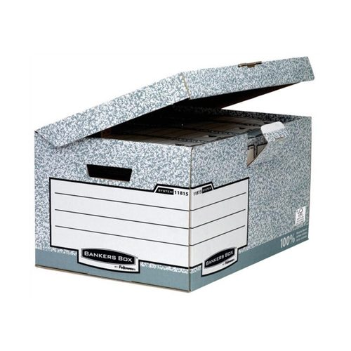 Bankers Box System Flip Top Maxi Grey 1181501 [Pack 10] | Strong storage box with hinged attached lid & locking tab | Fusion Office UK