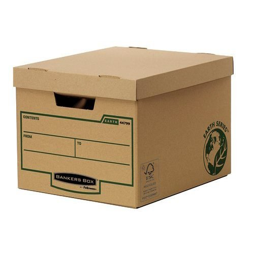 Bankers Box Earth Series Heavy Duty Box 4479901 [Pack 10] | 3 layers of board to end panels & 2 layers to sides and base | Fusion Office UK