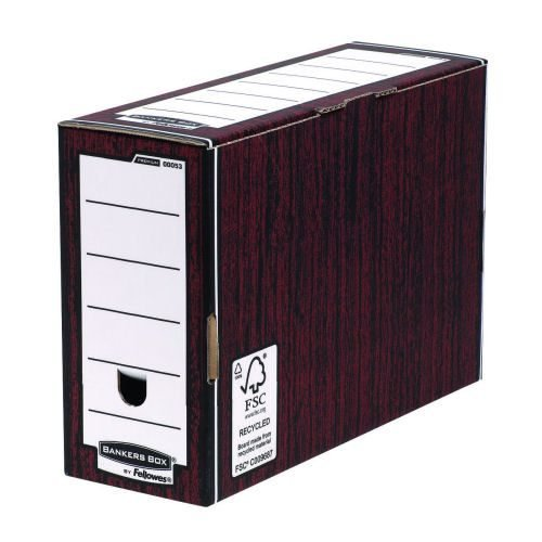 Bankers Box 127mm Transfer File Woodgrain 0005302 [Pack 10]   Maximum strength, large capacity file with reinforced base   Fusion Office UK
