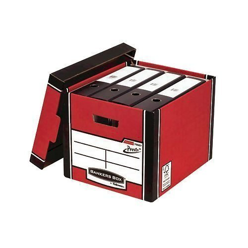 Bankers Box 726 Red Tall Storage Box [Pack 10] 7260701   A heavy-duty box features 2 glued layers   Can be stacked 6 high   Fusion Office UK