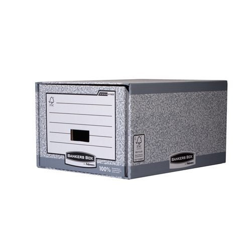 Bankers Box System Foolscap Storage Drawer Grey 01820 [Pack 5] | Extra strong construction reinforced shell and drawer | Fusion Office UK