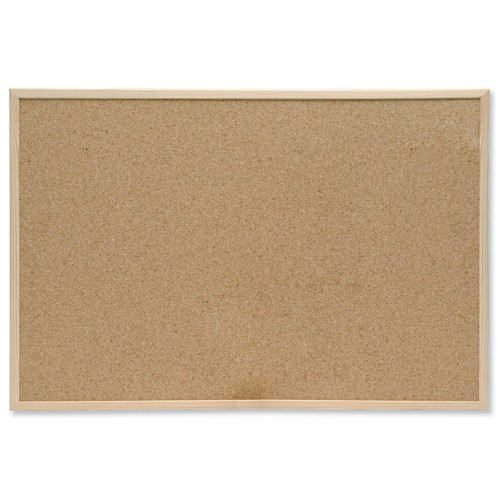 Pine Frame Noticeboard 900x600mm | Wall fixing kit included | Pine frame | Resilient cork pinning | Fusion Office