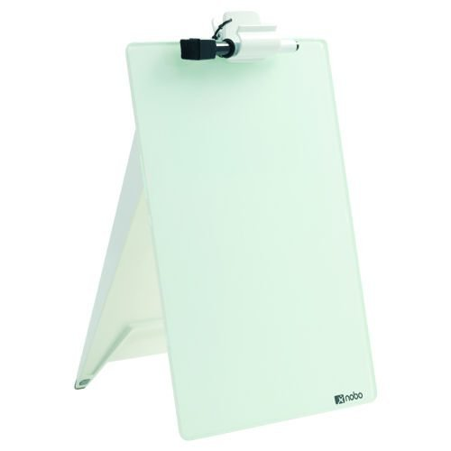 Nobo Glassboard Easel 216x297mm 1905173 | Dry erase glass desktop whiteboard easel with a handy removable document clip | Fusion Office UK