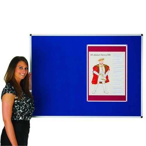 Adboards NCFT-0906-01 Classic Felt Noticeboard 900x600mm Blue | Accepts Pins | Made in the UK | Fabric is fire retardant | Fusion Office UK