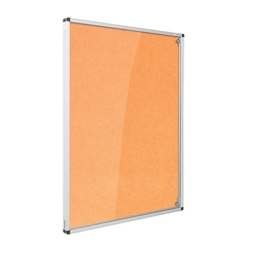 Resist-a-Flame Lockable Noticeboard 900x600 Orange Metroplan CBT32/OR | designed to protect the information on display | Fusion Office UK