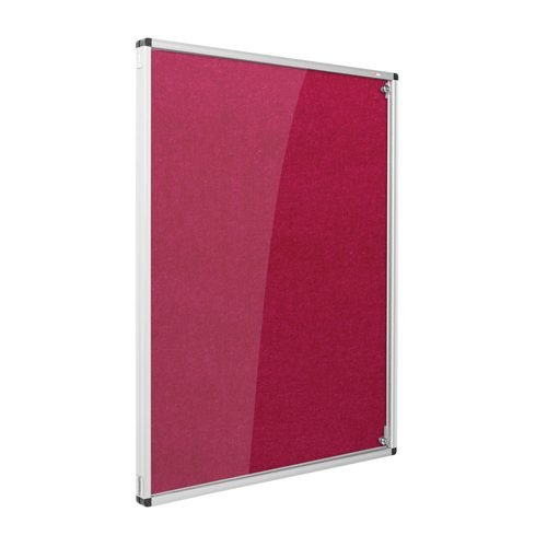 Resist-a-Flame Lockable Noticeboard 900x600 Raspberry Metroplan CBT32/RS | designed to protect the information on display | Fusion Office UK