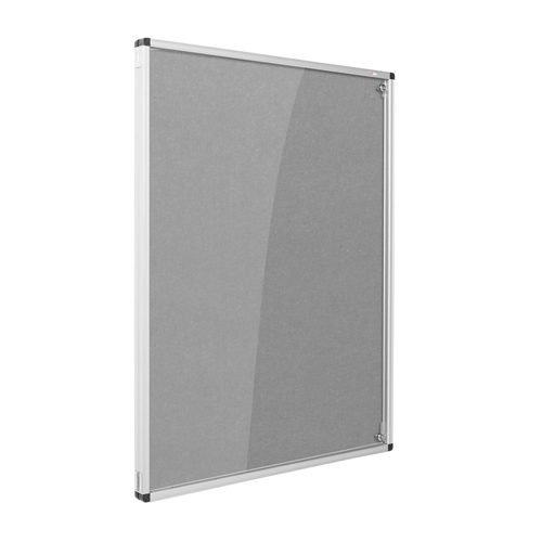 Resist-a-Flame Lockable Noticeboard 1200x1200 Grey Metroplan CBT44/GY | designed to protect the information on display | Fusion Office UK