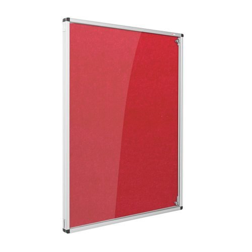 Resist-a-Flame Lockable Noticeboard 1200x1200 Red Metroplan CBT44/RD | designed to protect the information on display | Fusion Office UK