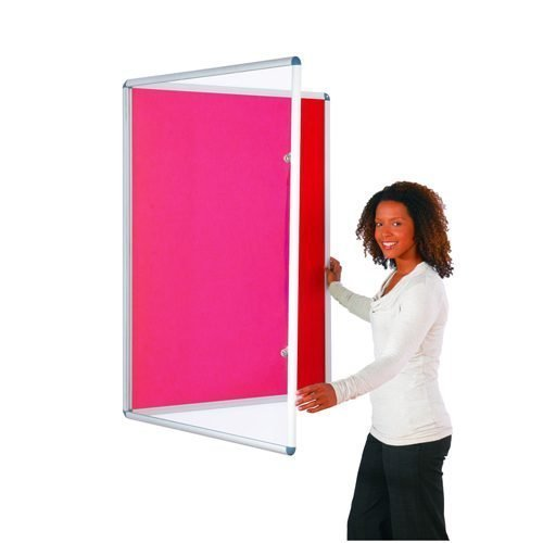 Tamperproof Noticeboard 1200x1200mm Red Metroplan TP1212/RD | Protecting notices in busy public areas | Fusion Office UK