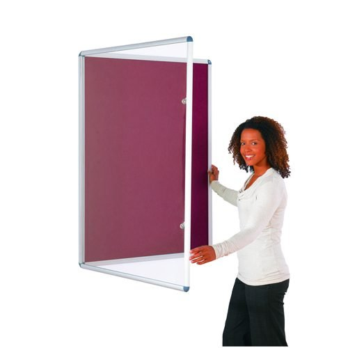Tamperproof Noticeboard 1200x1200mm Burgundy Metroplan TP1212/BU | Protecting notices in busy public areas | Fusion Office UK