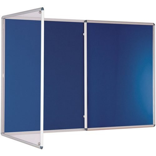 Tamperproof Noticeboard 2400x1200mm Blue Metroplan TP2412/DB   Protecting notices in busy public areas   Fusion Office UK