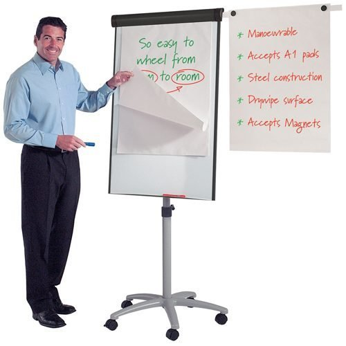 Buzzard Mobile Flipchart Easel Metroplan 449505 | mounted on a five star base with locking castors | Fusion Office UK