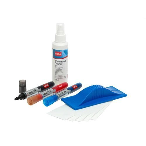 Nobo Whiteboard Starter Kit 34438861 | Convenient starter kit containing all you need to make use of your dry wipe board | Fusion Office UK