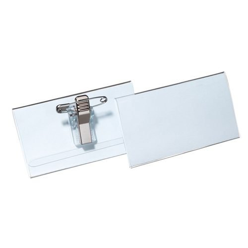 Name Badges with Combi-Clip Polypropylene 40x75mm Pack 50