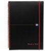 BlackNRed Polypropylene A4 Ruled Wirebound Notebook 100080166 [Pack 5]   Can be wiped clean to keep it in good condition   Fusion Office UK