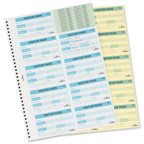Durable Visitors Book Refill 100 Badges 146465   Handy refill which can be used with the Visitors Book System or by itself   Fusion Office UK