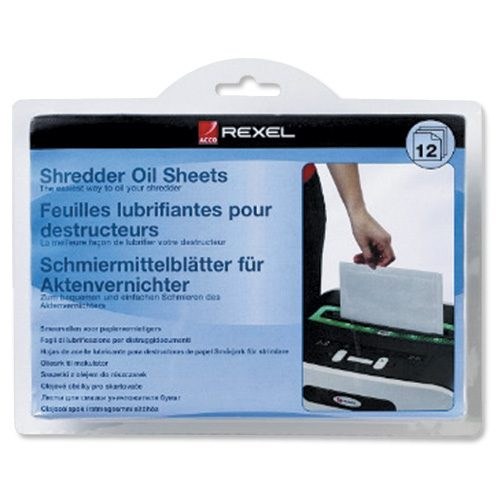 Rexel Shredder Oil Sheets 2101948 [Pack 12] | Engineered to prolong the life of your shredder | Use once a month | Fusion Office UK