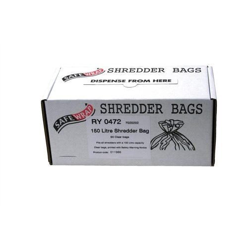 Shredder Bags 150 Litres RY0472 [Pack 50]   Supplied in an easy dispenser box   Made with plastic that is recyclable   Fusion Office UK