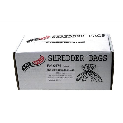 Shredder Bags 250 Litres RY0474 [Pack 50]   Supplied in an easy dispenser box   Made with plastic that is recyclable   Fusion Office UK