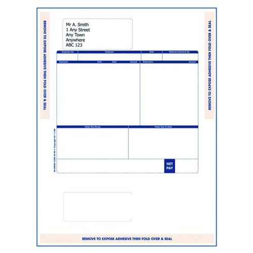 Sage Compatible A4 Payslip Mailer Self Seal Pack 500 SE100