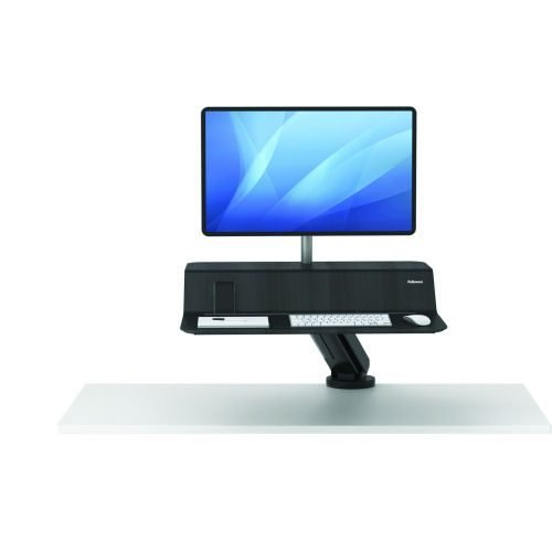 Fellowes Lotus RT Single Black Sit-Stand Workstation 8081501 | Mount to the back edge of any work surface | Fusion Office