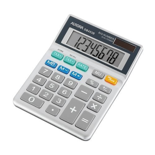Aurora DB453B Calculator Semi-Desktop 8 Digit   Robust Model   Extra Large Commonly Used Buttons   Tax Feature   Fusion Office UK
