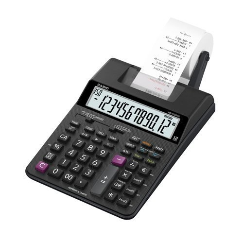 Casio Printing Calculator HR-150RCE 12 Digits   Ideal for the office or home   Powered by battery, to print anywhere!   Fusion Office UK