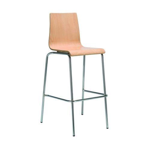 Fundamental wooden dining stool in beech with chrome frame DAMS HS2010-B-C   Extremely comfortable   Stackable   Fusion Office