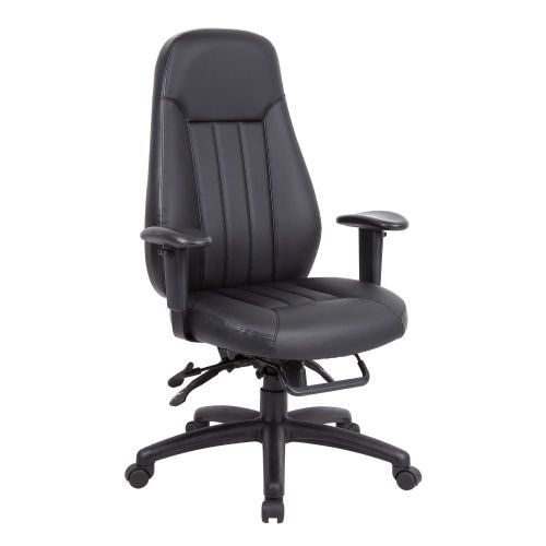 Zeus high back 24hr task chair black faux leather DAMS ZEU300K2 | Ergonomic seating with 3 lever mechanism | Fusion Office