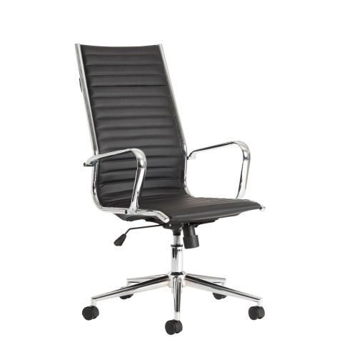 Bari High Back Executive Chair Faux Leather Black DAMS BARI300T1 | Contemporary design with chrome base | Fusion Office