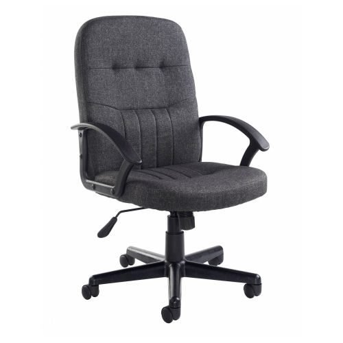 Cavalier fabric managers chair Charcoal DAMS CAV300T1-C   Contoured lower back   Fixed polyurethane armrests   Fusion Office