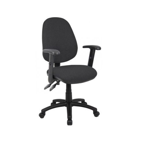 Vantage 102 2 lever PCB operators chair with adjustable arms Charcoal DAMS V102-00-C   Deep padded seat   High Back   Fusion Office
