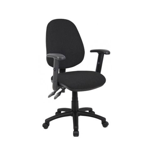 Vantage 102 2 lever PCB operators chair with adjustable arms Black DAMS V102-00-K | Deep padded seat | High Back | Fusion Office