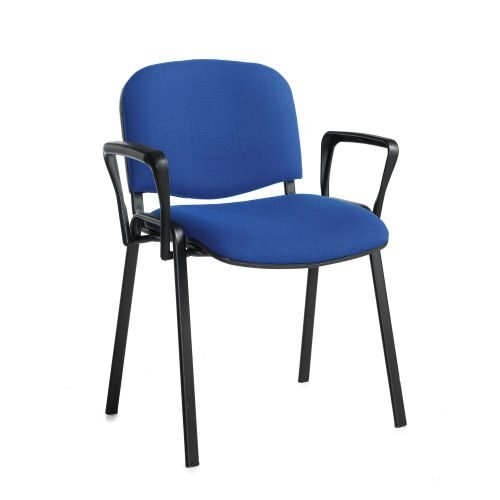 Taurus meeting room stackable chair with black-frame and fixed arms Blue DAMS TAU40003-B | Stackable | Fusion Office