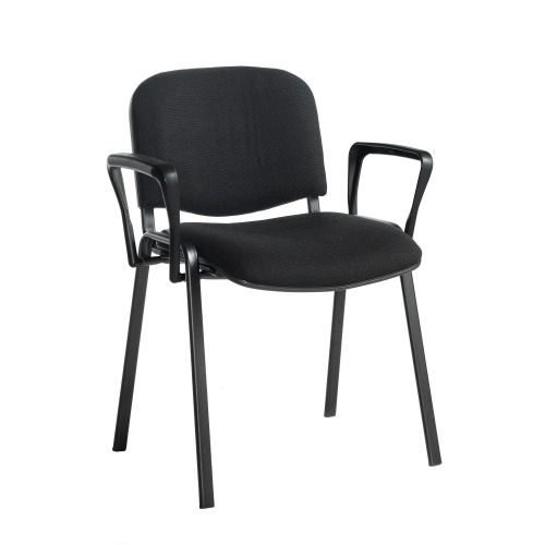 Taurus meeting room stackable chair with black-frame and fixed arms Black DAMS TAU40003-K | Stackable | Fusion Office