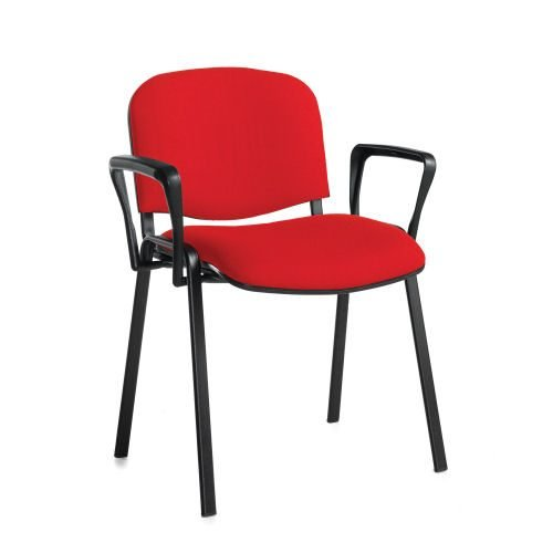 Taurus meeting room stackable chair with black-frame and fixed arm Red DAMS TAU40003-R | Stackable | Fusion Office