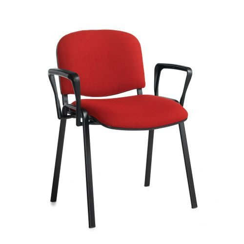 Taurus meeting room stackable chair with black-frame and fixed arm Burgundy DAMS TAU40003-BU   Stackable   Fusion Office