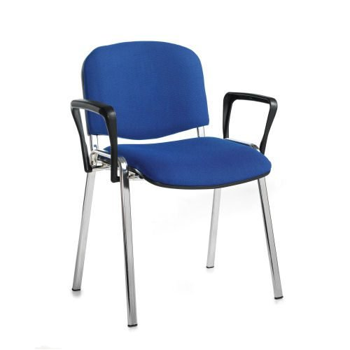 Taurus meeting room stackable arm chair with chrome-frame and fixed arms Blue DAMS TAU40006-B | Conference Chair | Fusion Office