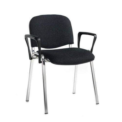 Taurus meeting room stackable arm chair with chrome-frame and fixed arms Charcoal DAMS TAU40006-C | Conference Chair | Fusion Office